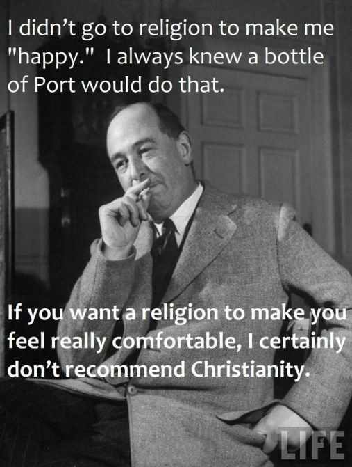 CS Lewis religion happy bottle of port don't recommend christianity
