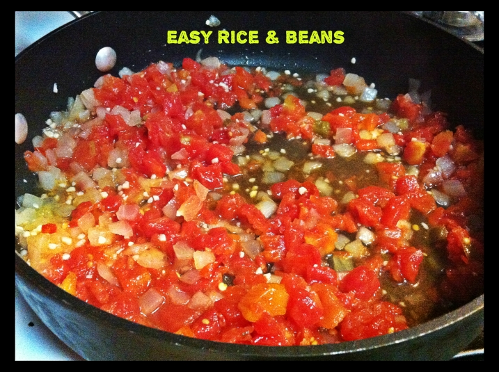 Easy Beans And Rice - tomatoes simmering
